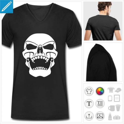 t-shirt tête de mort personnalisable