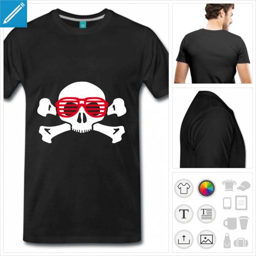 T-shirt tête de mort à lunettes de nerd à imprimer en ligne.