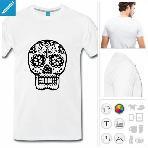 T-shirt tête de mort Mexique stylisée dessinée en tracés fins, motifs floraux à la couleur personnalisable.