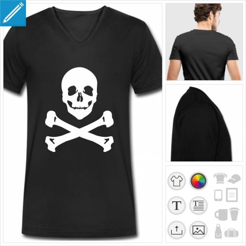 t-shirt pour homme tête de mort à personnaliser