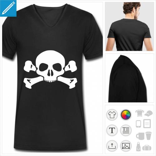 t-shirt manches courtes tête de mort personnalisable