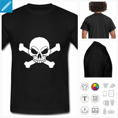 t-shirt noir pirate personnalisable
