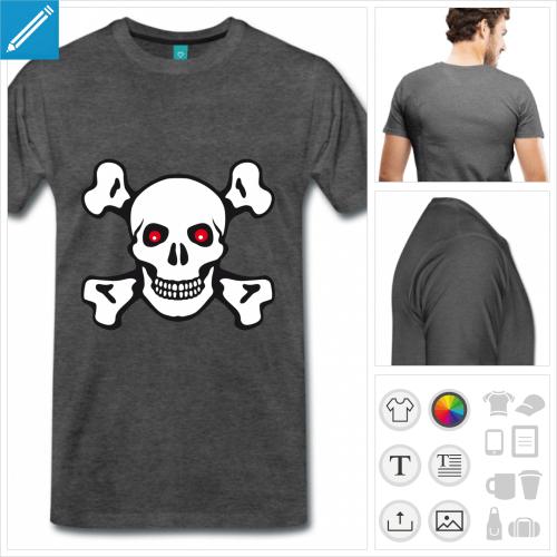 T-shirt tête de mort et os croisés à personnaliser en ligne.