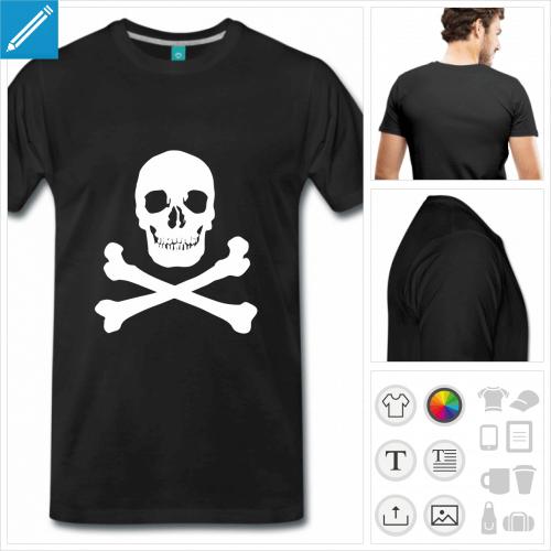 T-shirt tête de mort pirate réaliste à imprimer en blanc sur noir, t-shirt personnalisable.