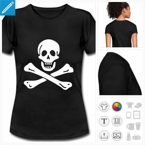 t-shirt noir basique tête de mort personnalisable, impression à l'unité