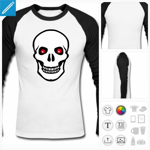 t-shirt baseball tête de mort yeux rouges à créer en ligne