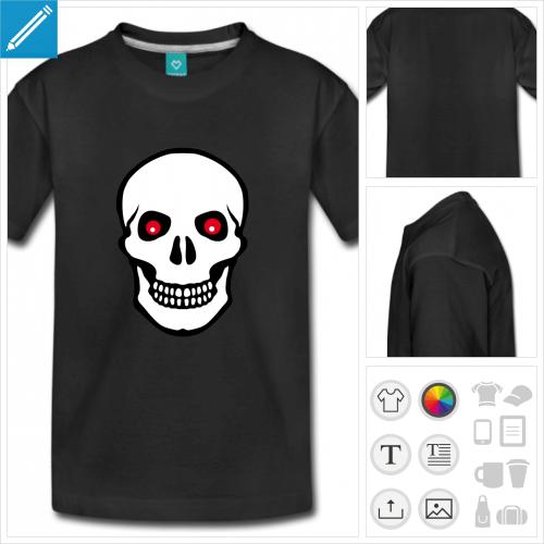 t-shirt manches courtes tête de mort à imprimer en ligne