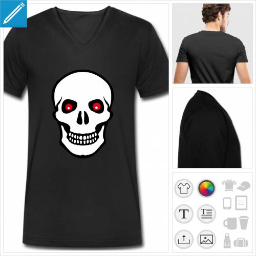 t-shirt noir tête de mort yeux rouges personnalisable, impression à l'unité