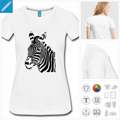 t-shirt femme zèbre à personnaliser, impression unique
