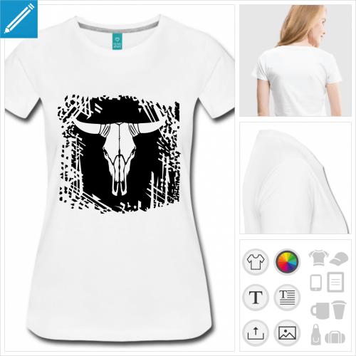 t-shirt manches courtes crâne de vache à personnaliser, impression unique