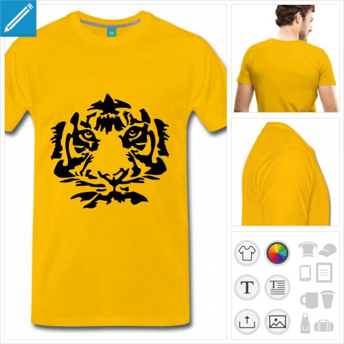 T-shirt tigre personnalisable, dessiné en une couleur.