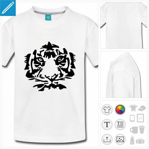 t-shirt simple tigre visage à personnaliser