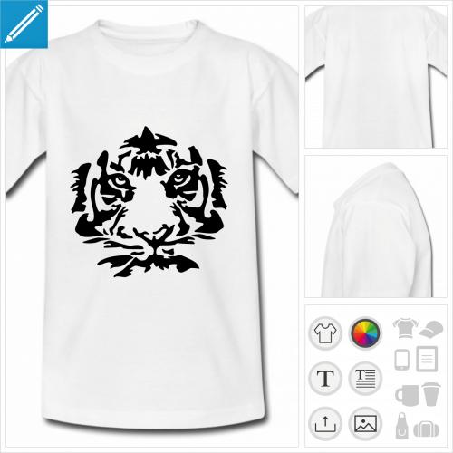 t-shirt pour enfant tigre visage à personnaliser, impression unique