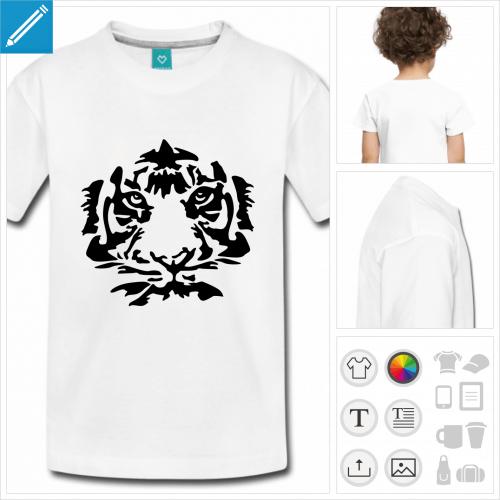 t-shirt enfant manches courtes tigre à créer soi-même