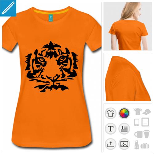t-shirt femme tigre à personnaliser, impression unique