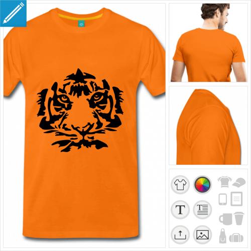 t-shirt orange homme tigre à personnaliser, impression unique