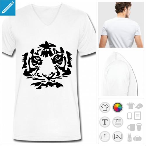 t-shirt homme tigre visage à créer soi-même
