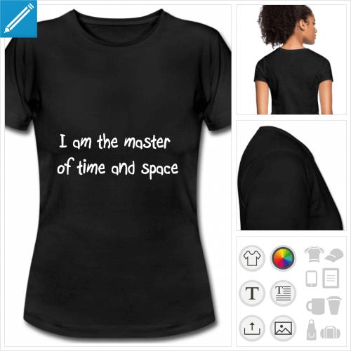 t-shirt noir basique voyage dans le temps personnalisable