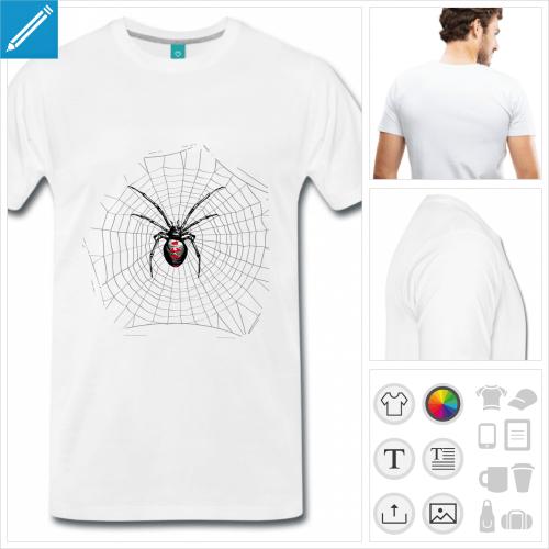 T-shirt toile d'araignée et veuve noire à personnaliser et imprimer en ligne.