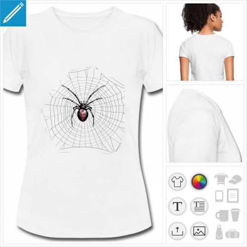t-shirt blanc toile d'araignée personnalisable