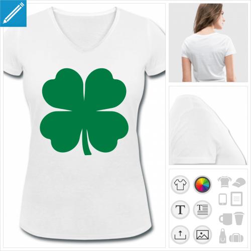 t-shirt col v trèfle à personnaliser en ligne