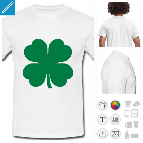 t-shirt simple trèfle à quatre feuilles personnalisable, impression à l'unité