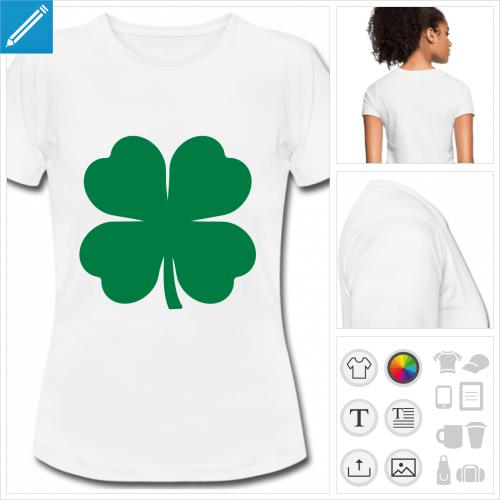 t-shirt basique trèfle à quatre feuilles à imprimer en ligne
