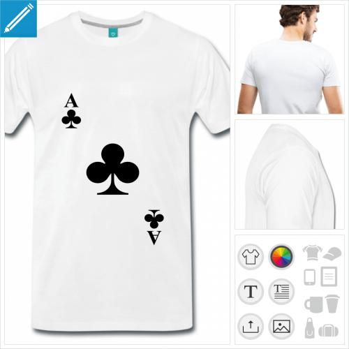 T-shirt trèfle, carte de jeu à personnaliser et imprimer en ligne.