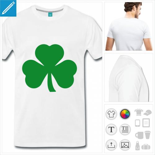 T-shirt trèfle irlandais Saint Patrick à imprimer en ligne.