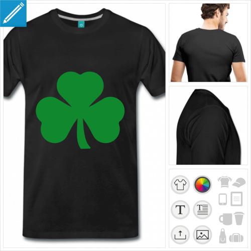 t-shirt noir trèfle irlandais à créer en ligne