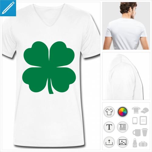 tee-shirt trèfle à personnaliser et imprimer en ligne