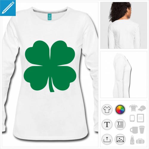t-shirt trèfle à quatre feuilles personnalisable