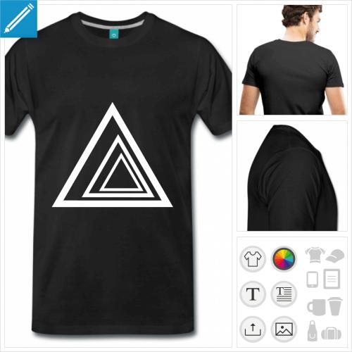 T-shirt triangles à imprimer en ligne, trois triangles produisant un effet de profondeur.
