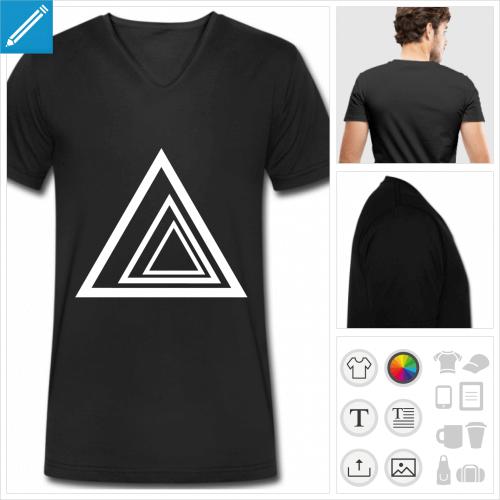 t-shirt manches courtes triangle personnalisable, impression à l'unité