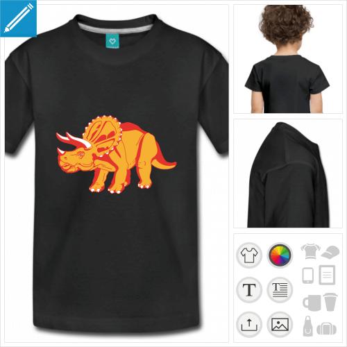 t-shirt noir tricératops personnalisable, impression à l'unité