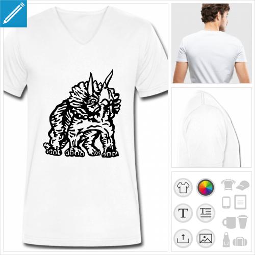 t-shirt simple dinosaure à personnaliser, impression unique