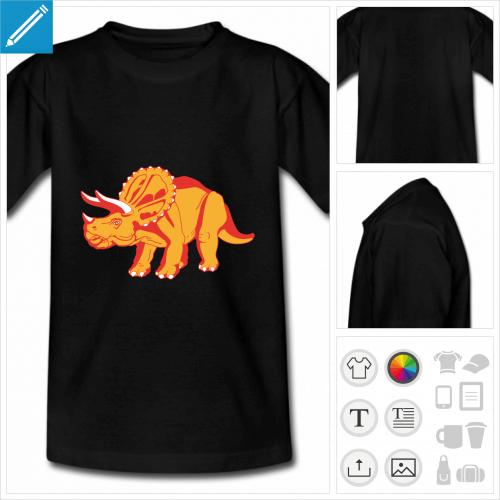 t-shirt manches courtes tricératops à personnaliser, impression unique