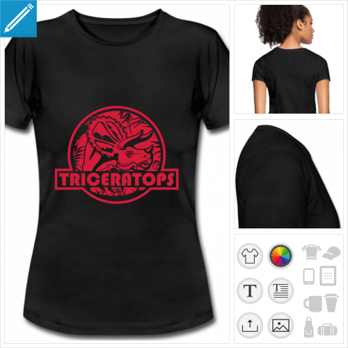 t-shirt triceratops à personnaliser