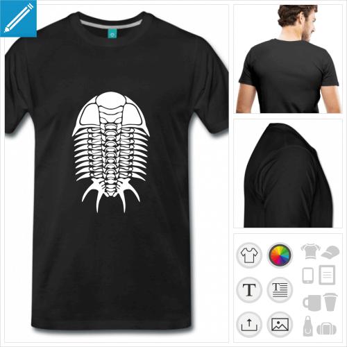 T-shirt trilobite, fossile de trilobite à personnaliser et imprimer en ligne.