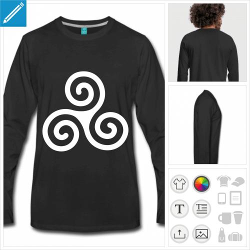 t-shirt Breizh triskel personnalisable, impression à l'unité