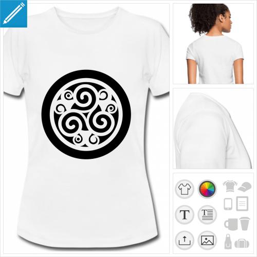 t-shirt blanc triskel à imprimer en ligne