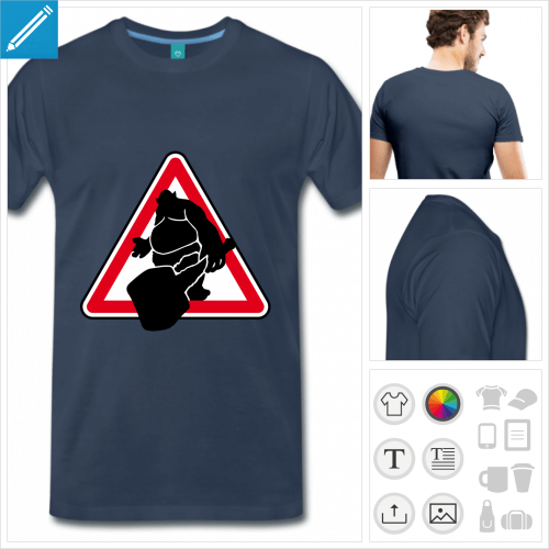 T-shirt troll, panneau attention troll rectangulaire rouge et blanc.