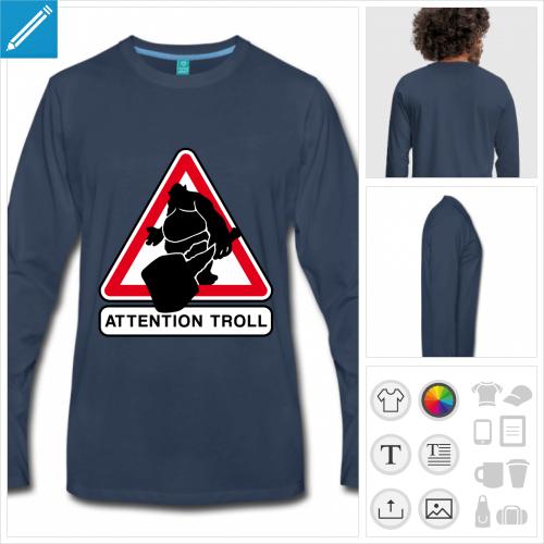 t-shirt homme trolling à créer soi-même
