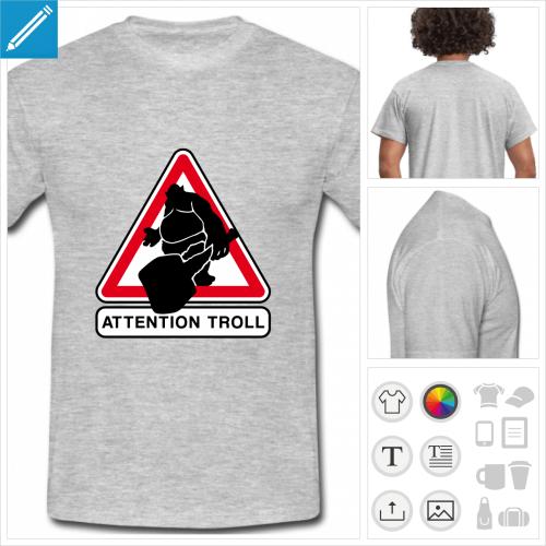 t-shirt gris clair trolling à personnaliser