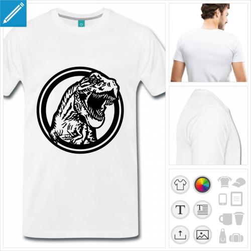 T-shirt tyrannosaure dans un cercle, motif dinosaure personnalisable.