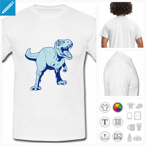t-shirt simple dinosaure à personnaliser, impression unique