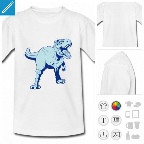 t-shirt blanc basique tyrannosaure à personnaliser, impression unique