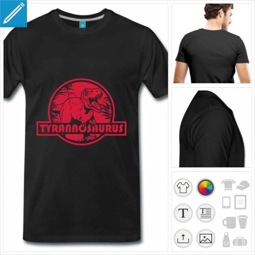 t-shirt noir T-rex personnalisable