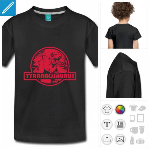 t-shirt noir tyrannosaurus à personnaliser et imprimer en ligne