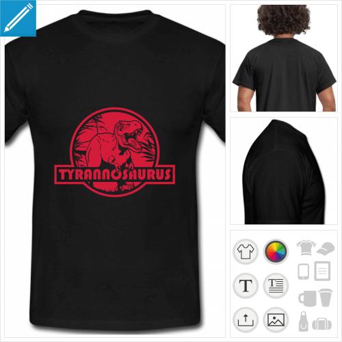 t-shirt noir tyrannosaurus à personnaliser, impression unique